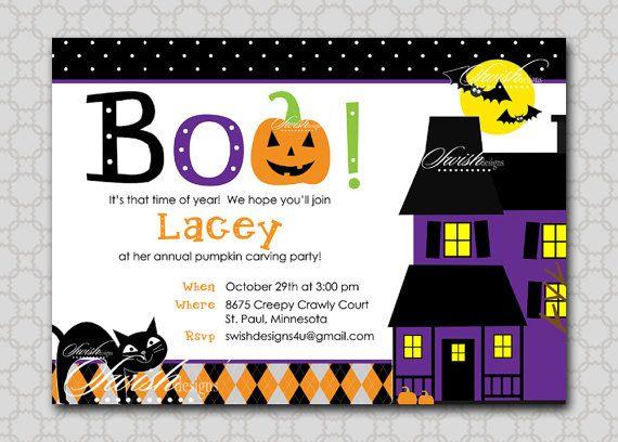 halloween pumpkin cat cute haunted house birthday invitation