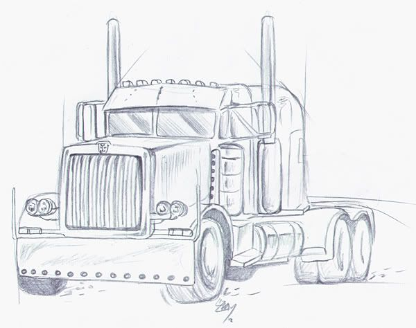 Pencil Drawings of Semi Trucks | Truck Sketches Related Keywords ...