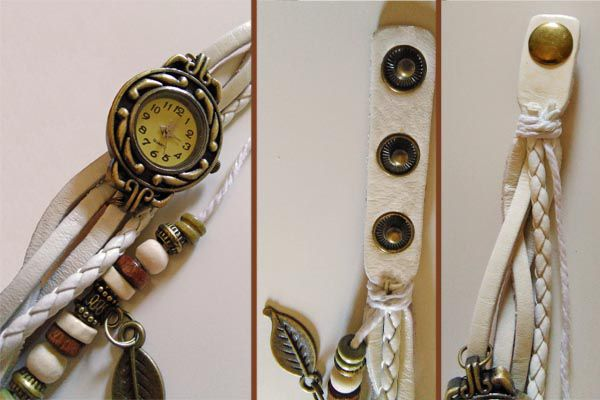 Fabulous ethnic watch with interlaced leather strings. Element decorations in hippy style