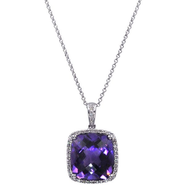 White Gold Amethyst Cushion Diamond Halo Pendant Necklace ($1,495) ❤ liked on Polyvore featuring jewelry, necklaces, diamond halo necklace, white gold necklace, white gold pendant necklace, amethyst jewellery and amethyst jewelry