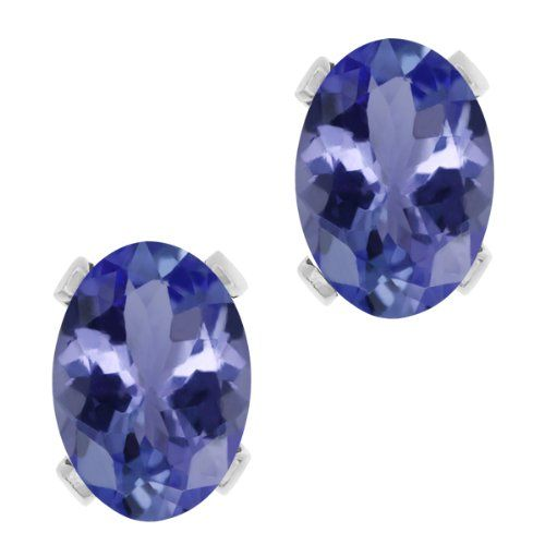 2.32 Ct Oval Blue AAA Tanzanite 14K White Gold Stud Earrings * Be sure to check out this awesome product.