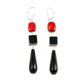 Black Onyx Coral Earrings