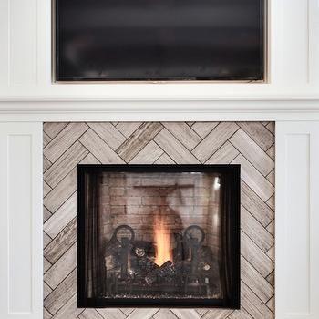 Herringbone tile pattern for Master Bedroom fireplace