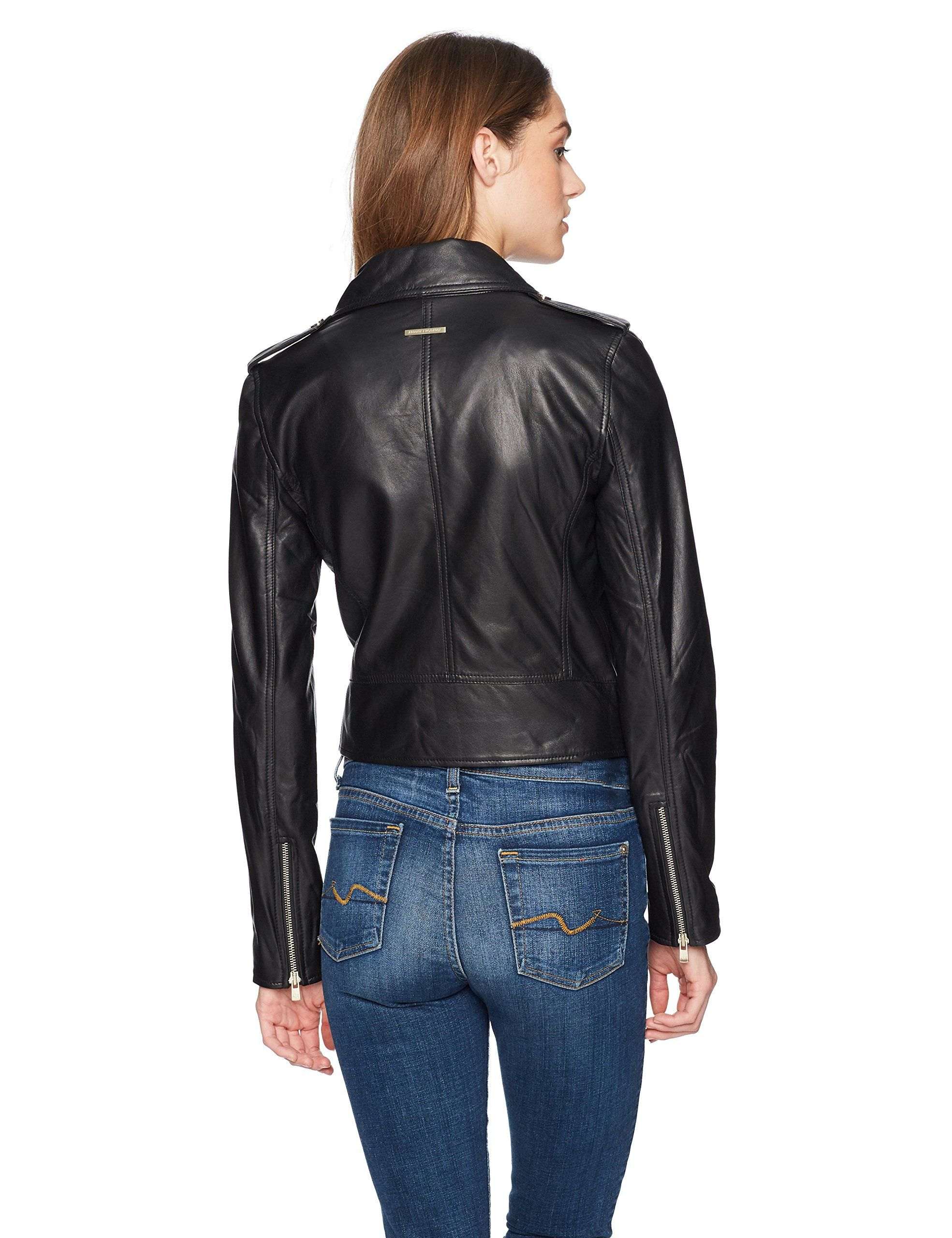 AX Armani Exchange Womens Real Leather Moto Jacket Black M