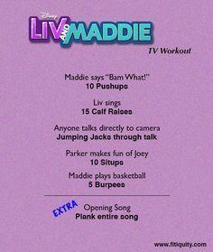 Enjoy Liv & Maddie but still work out! #BeFitEverywhere #Fitiquity #cheerworkouts