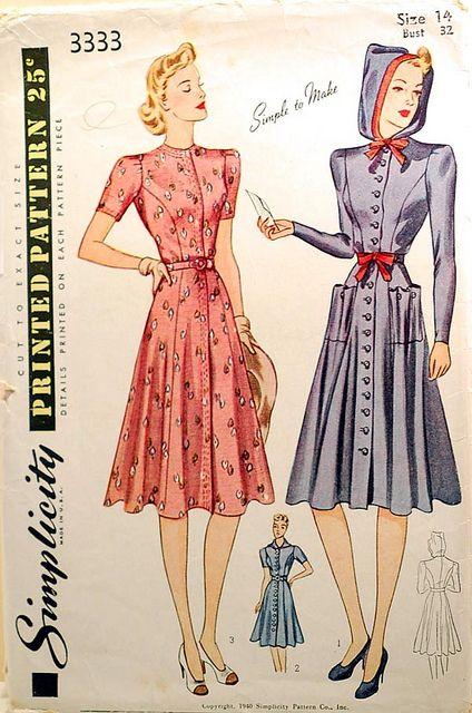 1940 Vintage Sewing Pattern Hooded Dress Vintage Sewing Patterns Vintage Dress Patterns 1940s Fashion