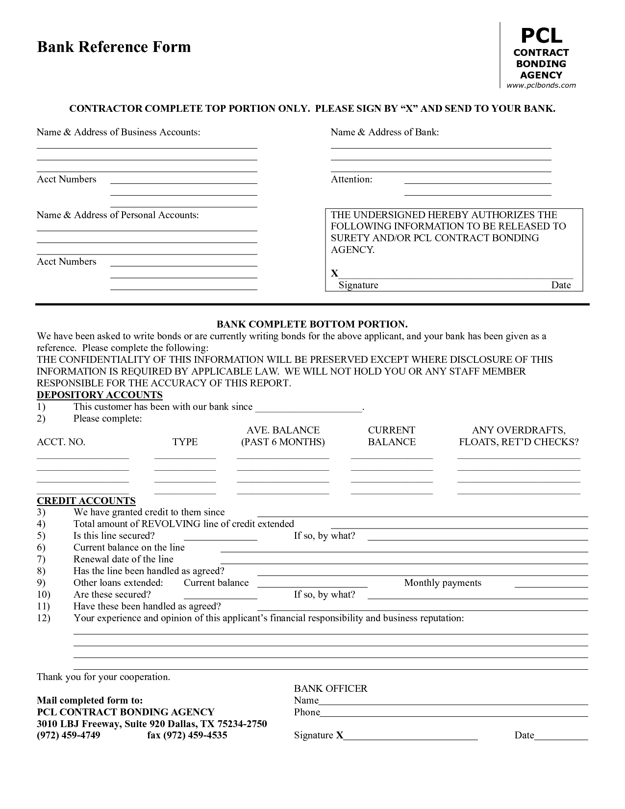 Business Credit Reference Form Template Bagnas