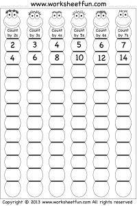 Überspringen Sie Zählung um 2 3 4 5 6 und 7 counting Sie Üb WorksheetABC WorksheetCounting WorksheetOrganization