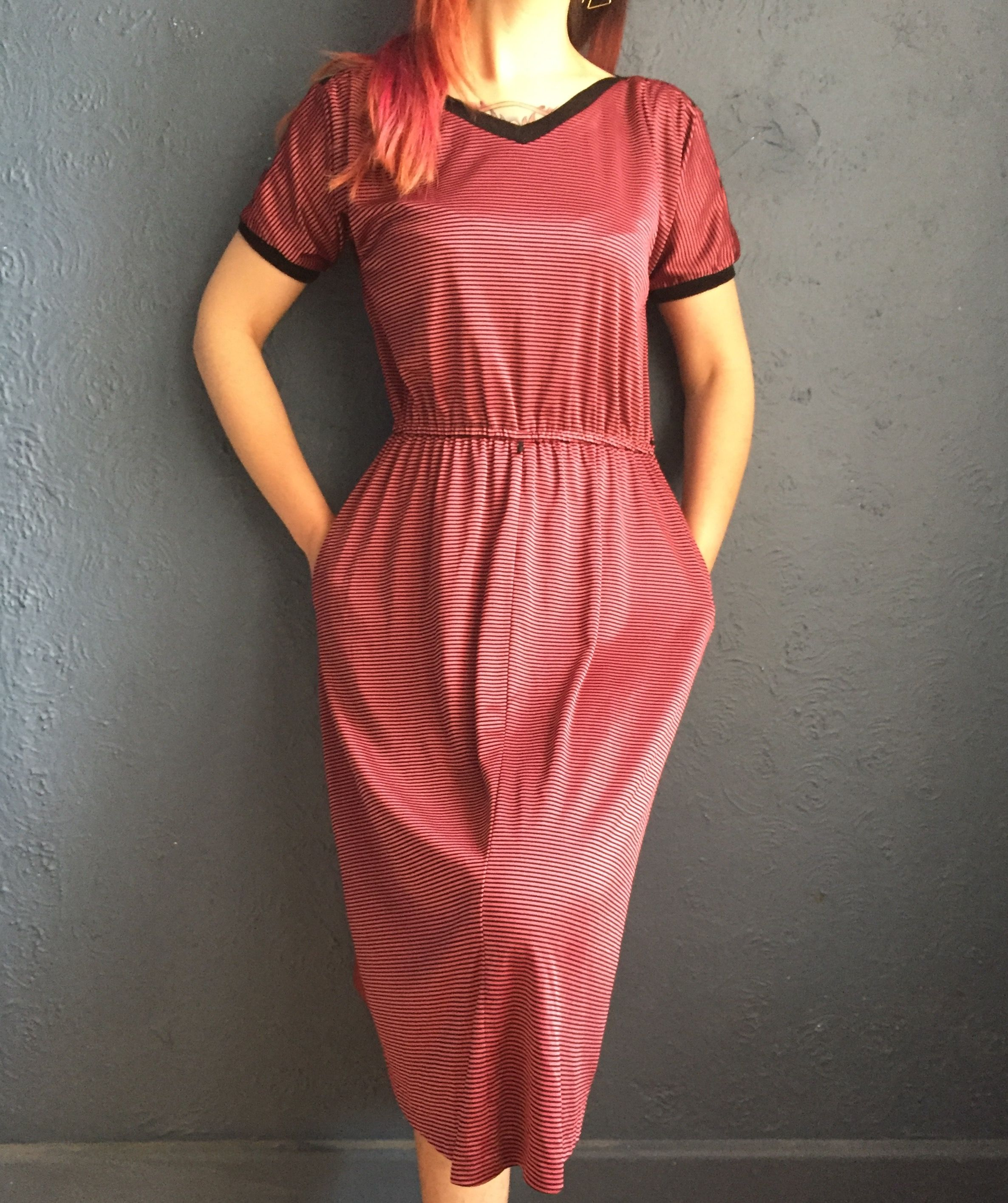 Vintage s cute and comfortable casual pink u black striped dress