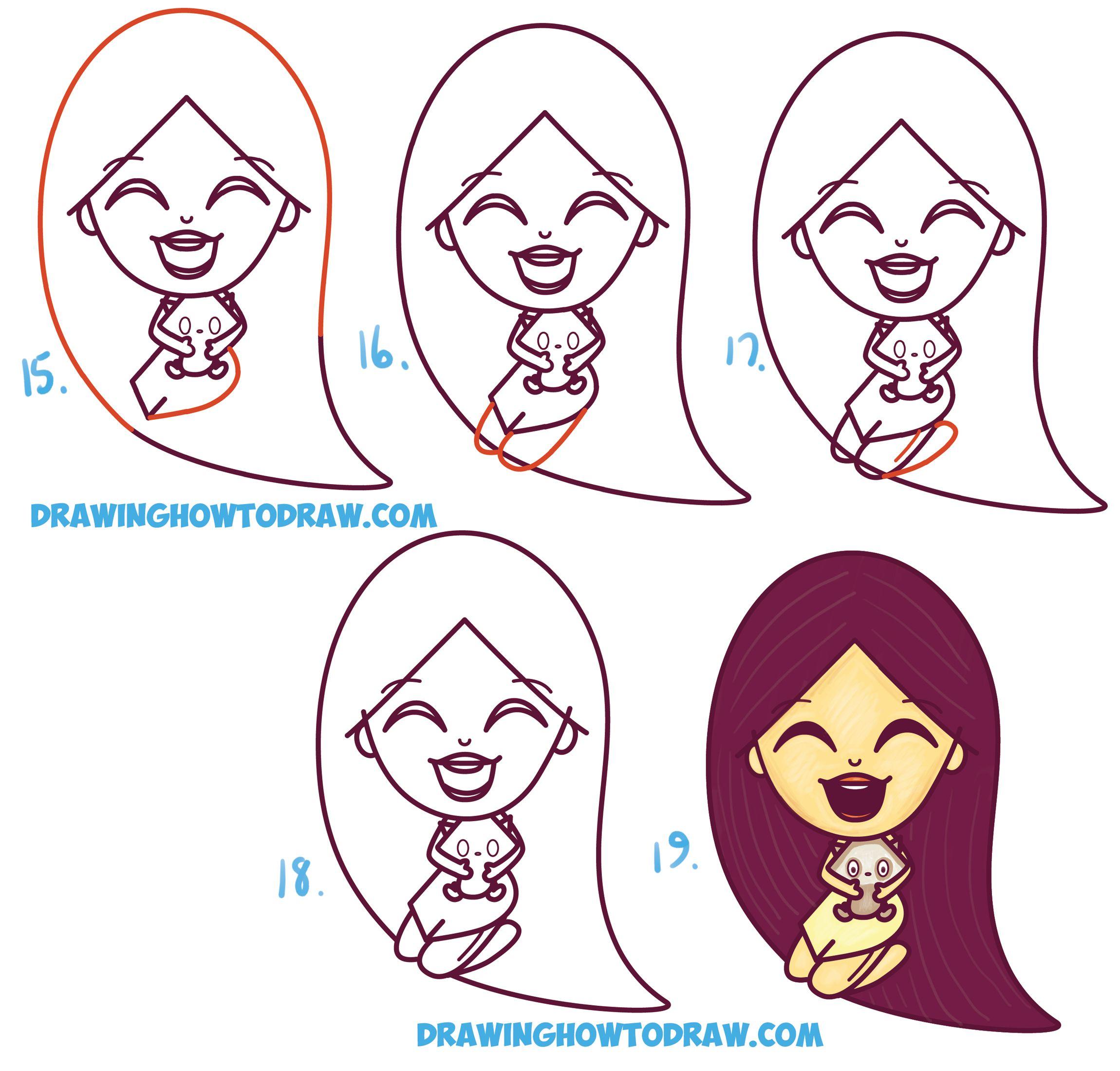 How To Draw A Cute Kawaii Chibi Pocahontas And Meeko Easy Step