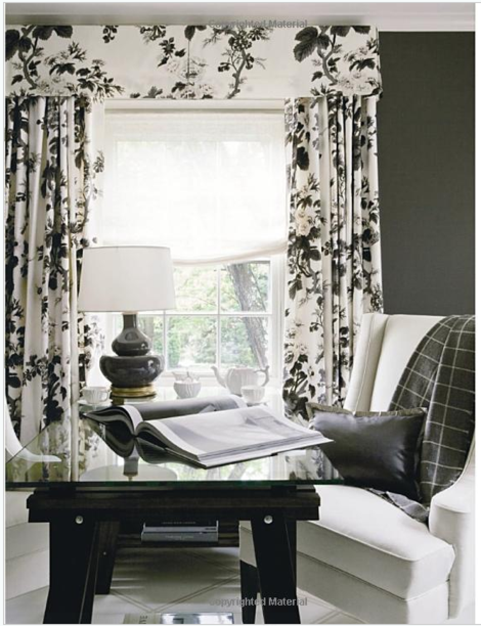 Black  white floral valance  curtains window valances  CORTINAS  Cortinas romanas Cortinas y Cornisas