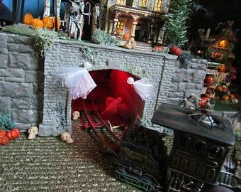 42 HALLOWEEN Village Display, Double Stairs, Village Display platform base Dept 56 Lemax, Department 56, Snow Village stand, usn