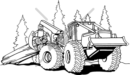 Bulldozer Clip Art Skidder With Logs Clipart And Vectorart Construction Equipment Cat Coloring Page Truck Coloring Pages Tractor Coloring Pages