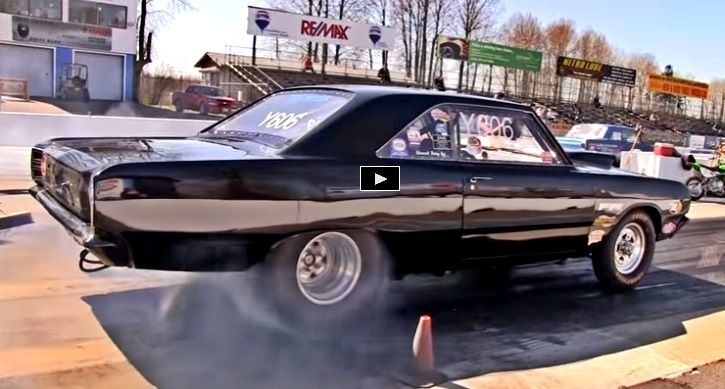 Watch Chris Stone and his gorgeous 1968 Dodge Dart 440 launching with the front wheels in the air.