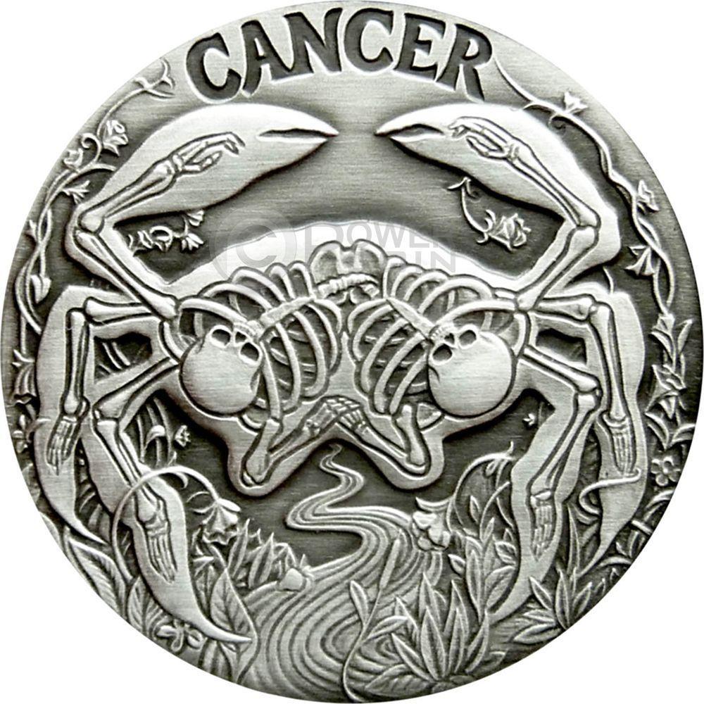 CANCER Memento Mori Zodiac Skull Horoscope Silver Coin Let He