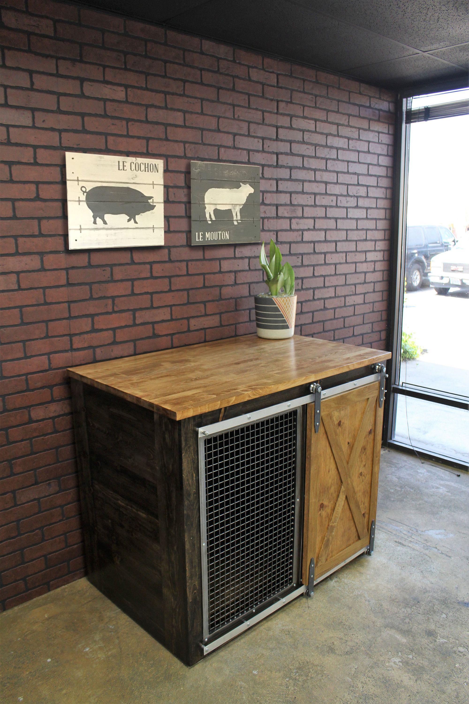 Rustic Dog Crate Sliding Barn Door Fully Custom Dog House