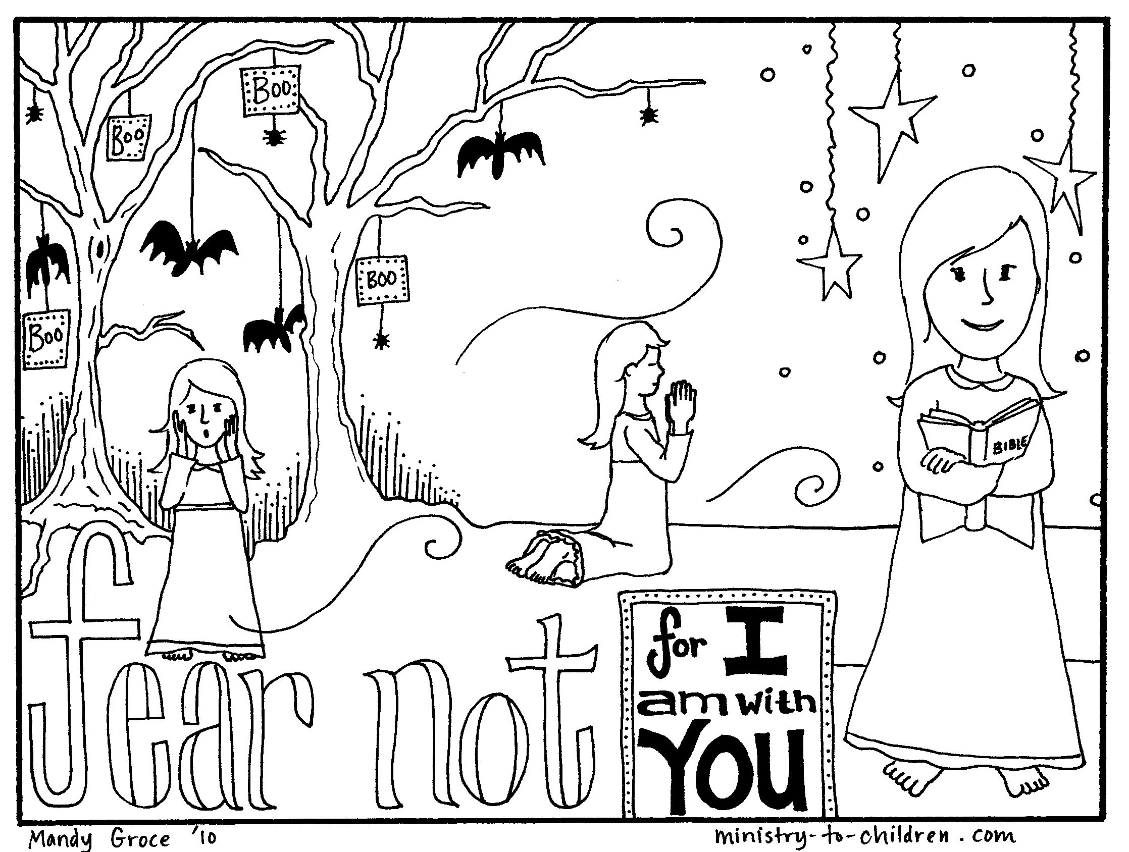 free coloring page teaches kids that faith can overcome fear http