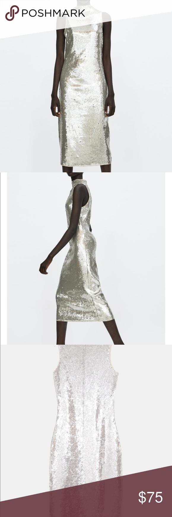 21de8935 Zara NWT midi silver sequin dress tulle lining $75 Zara NWT midi size M silver  sequin