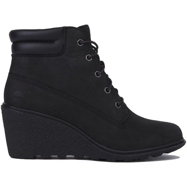 540699fed67a Timberland Women s Amston 6 Inch Wedge Boots - Black Nubuck ( 130) ❤ liked  on Polyvore featuring shoes