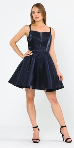 Embellished Waist with Pockets Homecoming Short Dress Navy Blue #navyblueshortdress Navy Blue Lace Embellished Neckline Long Formal Dress #navyblueshortdress