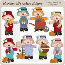 Overall Scarecrows - Clip Art