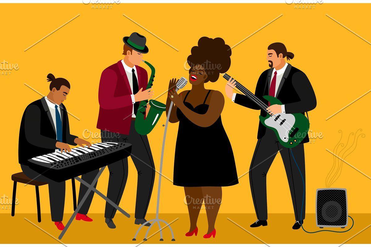 Black Silhouette Jazz Musicians Jazz Band Jazz Musicians Black Silhouette