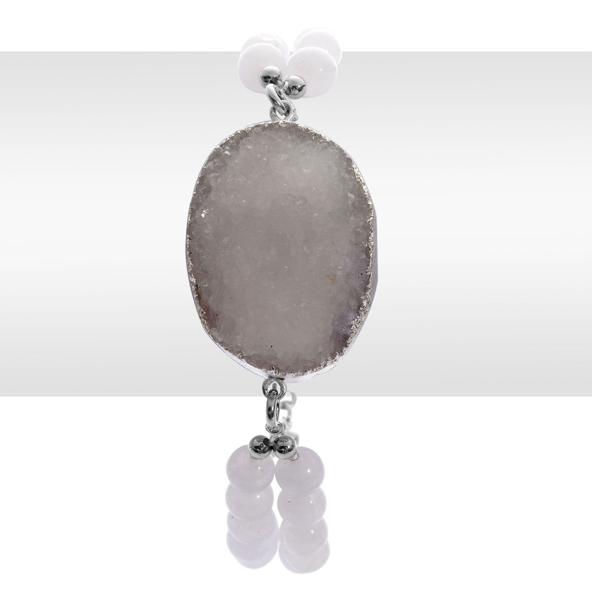 Stainless steel dyed drusy white quartzite bezel set solitaire