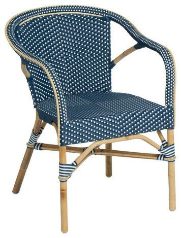 Madeleine Outdoor Bistro Arm Chair Navy And White Contemporary