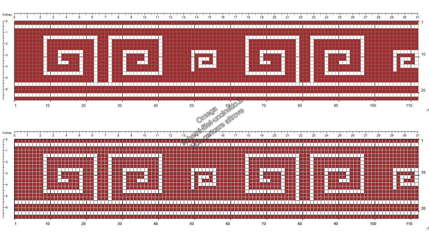 Schema filet uncinetto gratis bordo greca color bordò altezza 22 quadretti