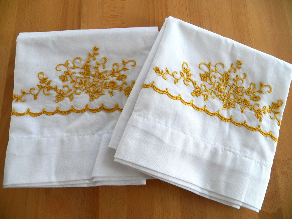 Vintage UNUSED Embroidered Pillowcases-Gold Floral-Ex.Cond-Cottage Chic-Bucilla