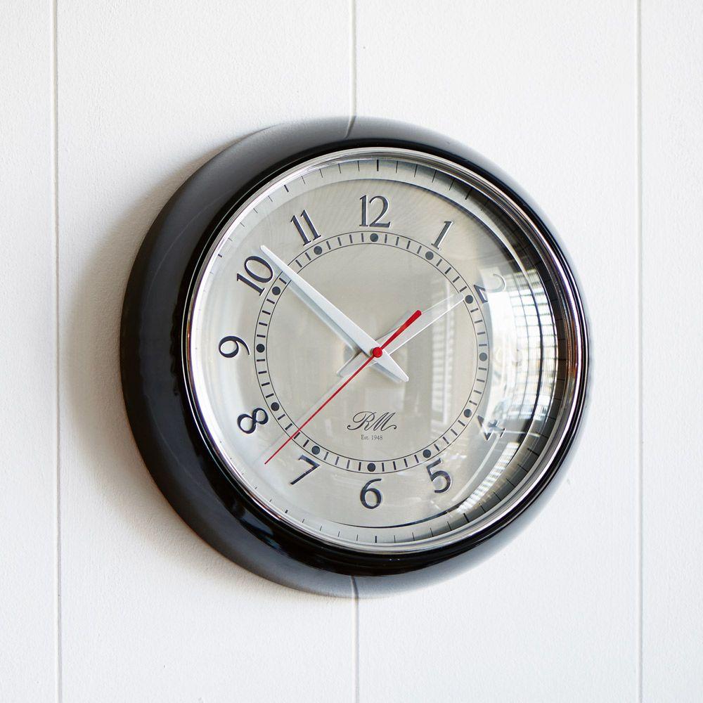 Riviera Maison Boston Harbour Clock Vintage Clock Black Metal Frame Clock