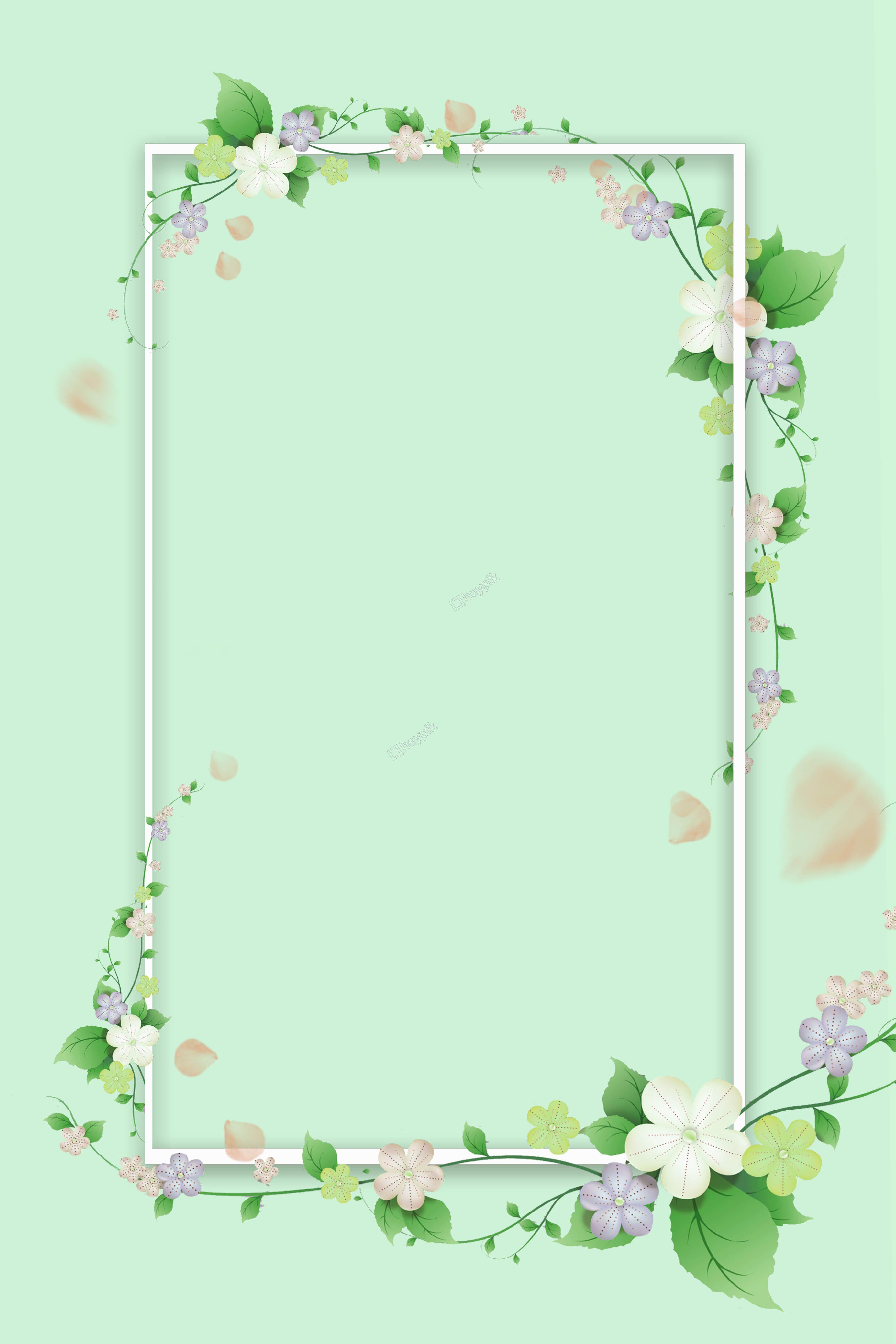 Fresh Green Flower Border Theme Poster Flower Background Wallpaper Mint Green Wallpaper Vintage Flowers Wallpaper