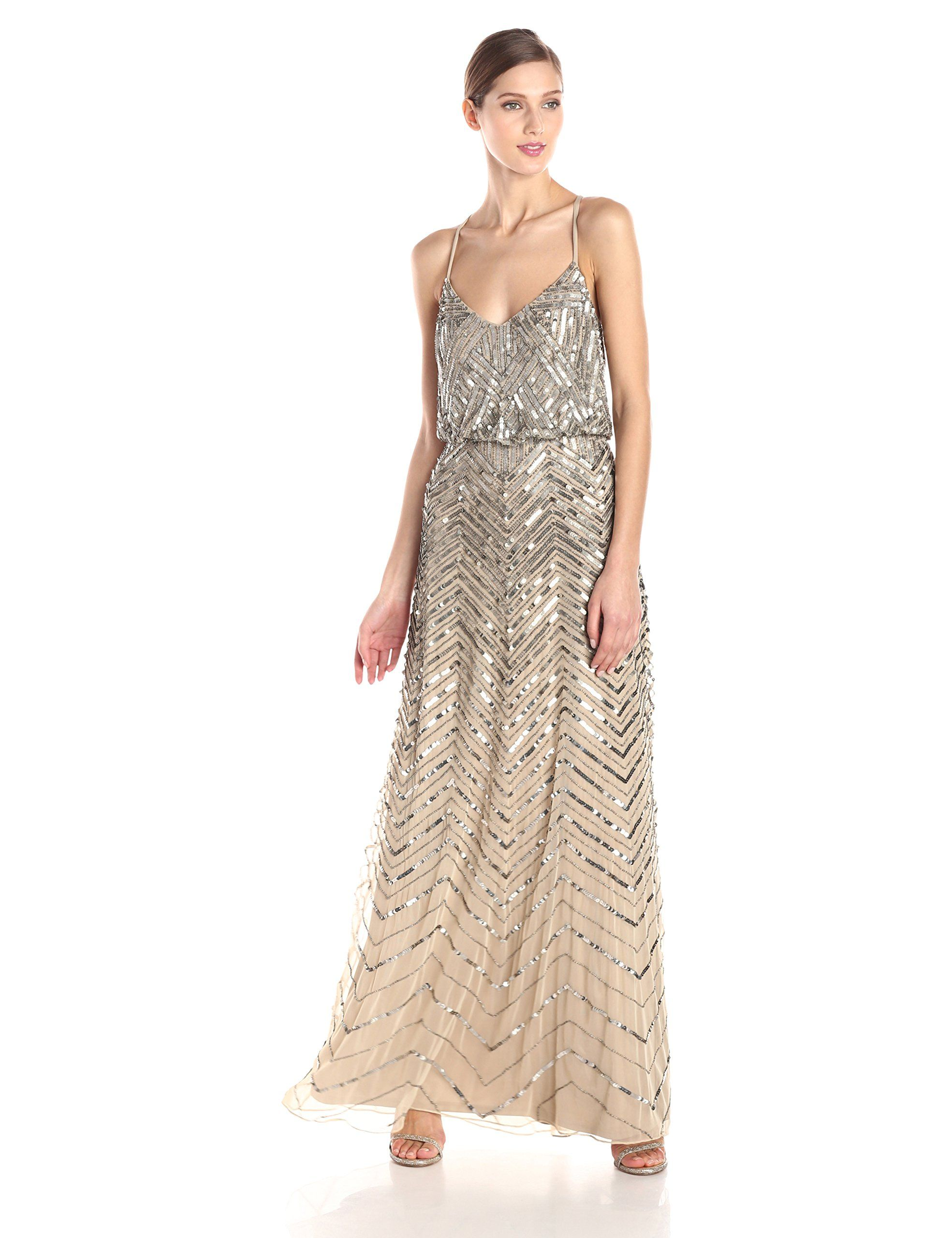 0547c1fe63a Amazon.com  Adrianna Papell Women s Blouson Chevron Beaded Gown  Clothing