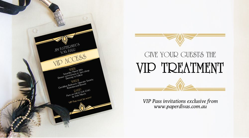 From only $2.50 each! Exclusive VIP Pass Invitations from paperdivas ...