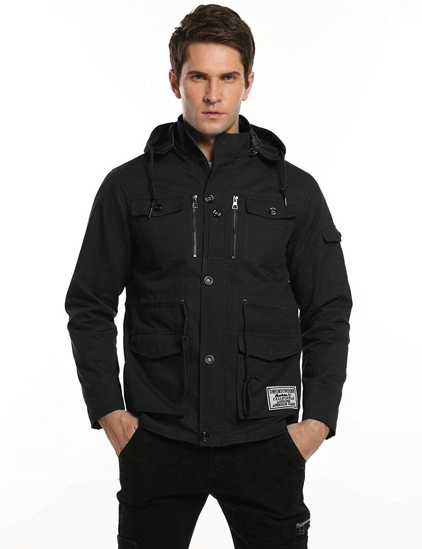 Men S Winter Thicken Cotton Military Windbreaker Jacket With Removable Hood Black C312nzn25pv Mens Lightweight Jacket Mens Outerwear Jacket Windbreaker Jacket [ 1500 x 1154 Pixel ]