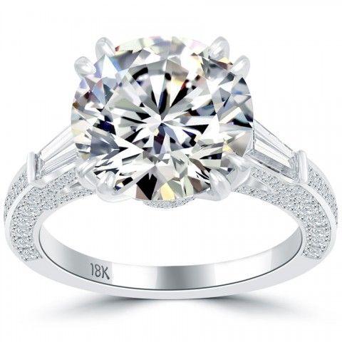 6.60 Carat I-SI1 Certified Natural Round Diamond Engagement Ring 18k White Gold