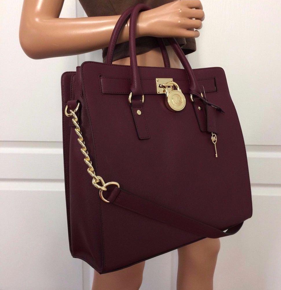 b3017181429a Michael Kors Hamilton Large Saffiano Leather Tote Shoulder Merlot Gold Bag  Purse #MichaelKors #ShoulderBag