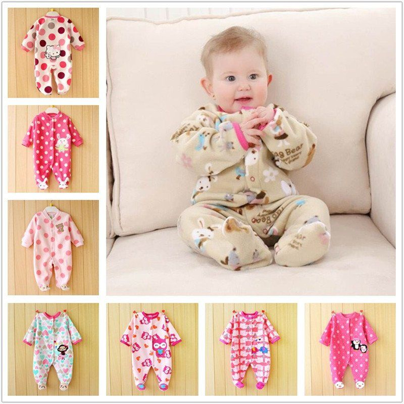 3b5320bbe0b8 0-12M Autumn Fleece Baby Rompers Cute Pink Baby Girl Boy Clothing Infant  Baby Girls Clothes Jumpsuits Footed Coverall V20