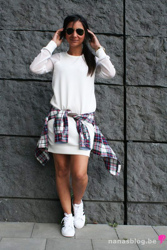 adidas superstar with a dress