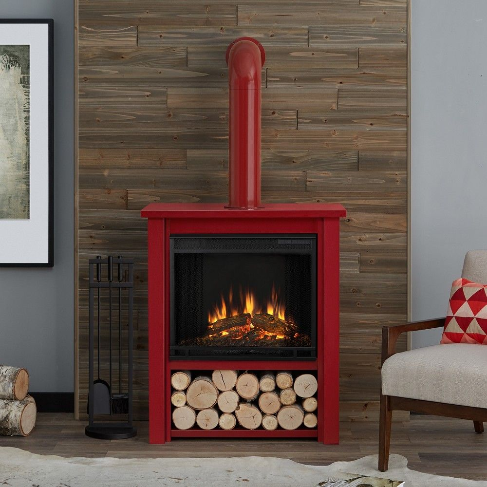Real Flame Hollis Indoor Electric Fireplace Glossy Red Enamel Red