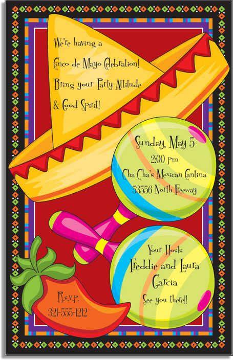 Cinco De Mayo Invitations Mexican Party Invitation Fiesta Invitations Party Invite Template