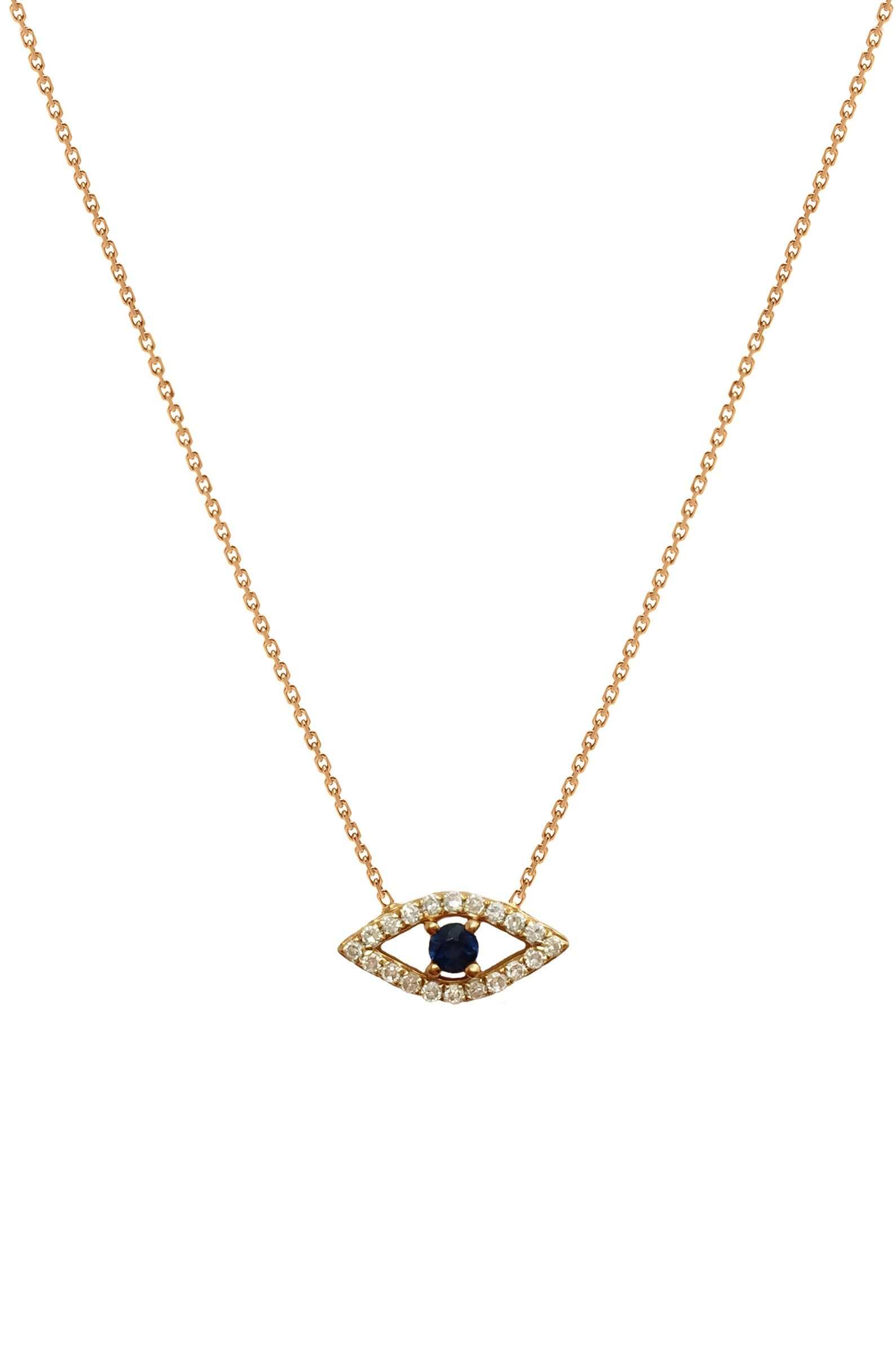 Zoe Lev Jewelry 14k gold diamond evil eye pendant