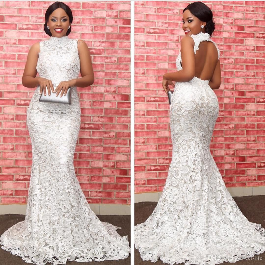 Aso Ebi Style White Lace Formal Evening Dresses Backless High Neck ...