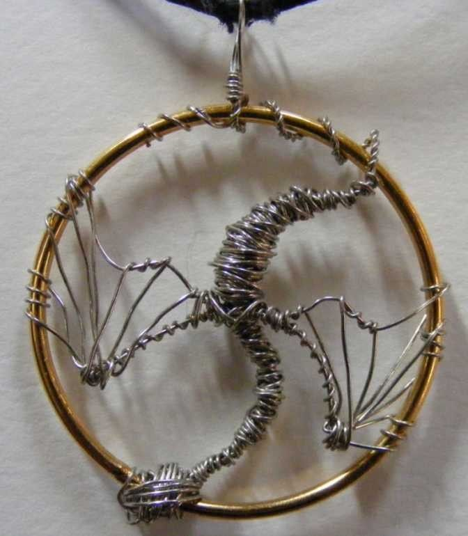 Silver Dragon Wire Wrapped Pendant Wirework Wire Wrapping