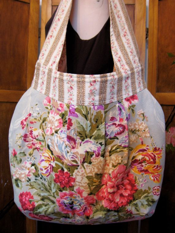 Vintage 1940s Barkcloth Era Floral Fabric Shoulder Bag - Amy Butler Birdie Sling