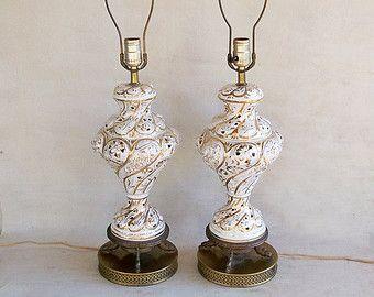 Capodimonte+lamps | Pair Of Italian Made Capodimonte Style Table Lamps   White  Porcelain .