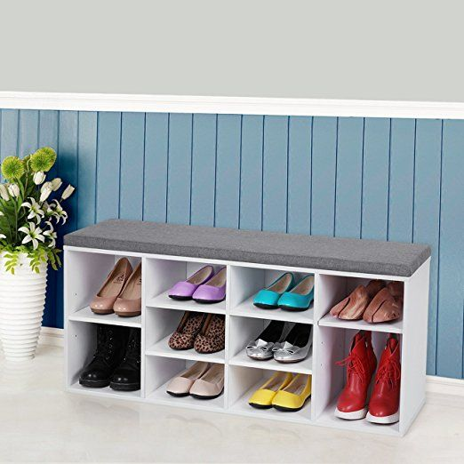 Songmics Schuhschrank mit Sitzkissen für 10 Paar Schuhe/Stiefel Bank ...