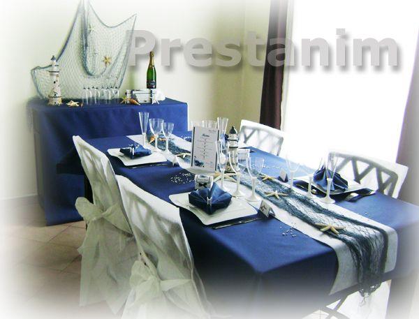 Ci contre un exemple de d coration sur la mer pour un mariage une table d cor e avec une nappe - Chemin de table filet de peche ...