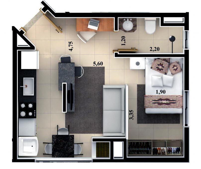 10 modelos de quitinetes modelos fotos modelo fotos e for Fachadas de apartamentos pequenos