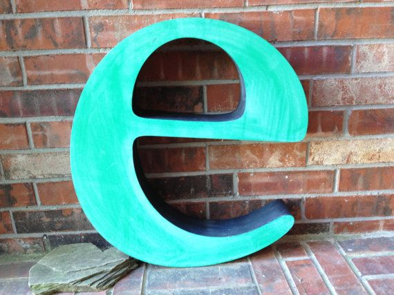 "Lowercase Metal Wall Letters Large Reclaimed Metal Sign Lower Case Letter ""e"" Turquoise Or"